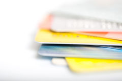 Group of credit cards on white backround Royalty Free Stock Photography
