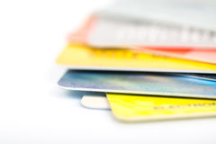 Group of credit cards on white backround Stock Photo