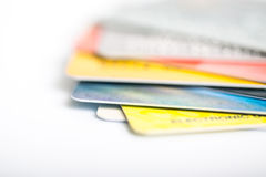 Group of credit cards on white backround Stock Image