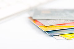 Group of credit cards on white backround Royalty Free Stock Images