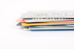 Group of credit cards on white backround Royalty Free Stock Photo