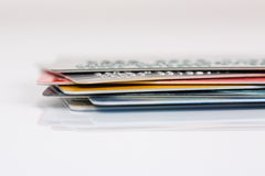 Group of credit cards on white backround Royalty Free Stock Photos
