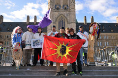 Cree youth walkers arrive in Ottawa Stock Photos