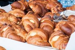 Group of croissants with jam, vanilla cream and honey Stock Photo