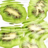 Group of cross a kiwi-fruits under water Stock Image