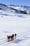 Group of crosscountry skiers resting. In Aran Valley from spanish Pyrenees Stock Photo