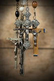 Group of Crucifixes Hanging Royalty Free Stock Images