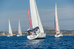 Group of cruising sailboats is sailing near the Sardinia island. Stock Images