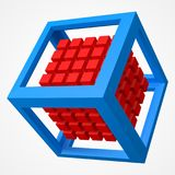 Group of cubes, in cubic frame. 3d style vector illustration. Group of cubes in cubic frame. 3d style vector illustration. suitable for any banner, ad Royalty Free Stock Image