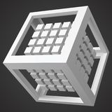 Group of cubes, in cubic frame. white version. 3d style vector illustration. Group of cubes in cubic frame. white version. 3d style vector illustration. suitable Royalty Free Stock Image