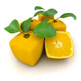 Group of cubic oranges. Composition of cubic oranges on a white background Stock Images