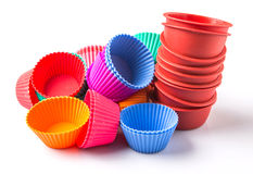 A Group Of Cupcake Silicone Baking Cups VI. Various color cupcake silicone baking cups over white background Stock Photos