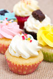 Group of cupcakes. Group of cupcakes with sprinkles. shallow depth of field Stock Images