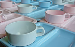 Group of  cups and plates for serving Stock Image