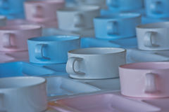 Group of  cups and plates for serving Stock Photos