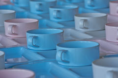 Group of  cups and plates for serving Royalty Free Stock Photo