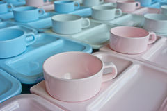 Group of  cups and plates for serving Stock Photography