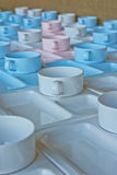 Group of  cups and plates for serving Stock Photo