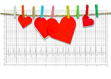 Group of Cute big red heart hanging on the clothesline. on  electrocardiogram. Stock Image