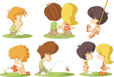 Cartoon kids. Group of cute cartoon kids in love Stock Image