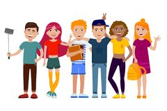 Group of cute happy teenagers having fun, standing together with gadgets, backpacks and books. School students. Set of stock illustration