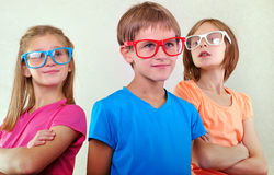 Group of cute kids with eyeglasses Royalty Free Stock Photography