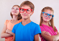 Group of cute kids with eyeglasses Royalty Free Stock Photo