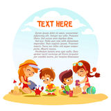 Group of cute little boys and girls playing with sand on summer beach. Stock Photos
