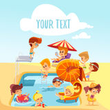 Group of cute little children playing around of swimming pool. Stock Photo