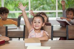 Group Cute little girl student raising hands in classroom school . genius kid hand up . Great idea . child clever sitting at desk. Preschool . Early education stock images