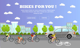Group of cycle riders on bikes. Street with bicycle line. Vector illustration in flat style design. Group of bicycle riders on bikes on road. Street with stock illustration