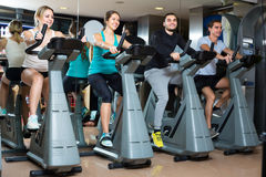 Group cycling in fitness club Stock Image