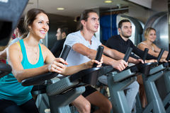 Group cycling in fitness club Stock Photography