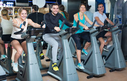Group cycling in fitness club Royalty Free Stock Photos