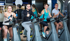 Group cycling in fitness club Royalty Free Stock Images