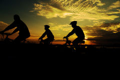Group Cycling for Health. Silhouette royalty free stock images