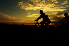 Group Cycling for Health silhouette. Group man Cycling for Health silhouette royalty free stock photography