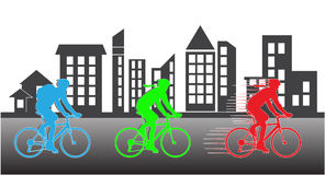 Group of cyclist in the bicycle race with building silhouette Stock Image