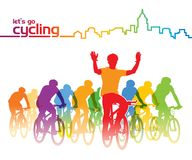 Cycling group. Group of cyclist on the bicycle tour around the city. Vector illustration Royalty Free Stock Images