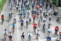 Group of cyclist on the car free day. Royalty Free Stock Images