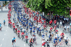 Group of cyclist on the car free day. Royalty Free Stock Photos