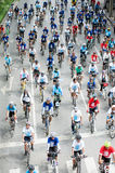 Group of cyclist on the car free day. Stock Photo