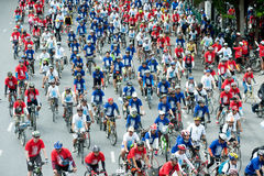 Group of cyclist on the car free day. Stock Photography