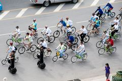 Group of cyclist on the car free day. Royalty Free Stock Photography