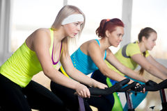 Group of cyclist women in fitness center Royalty Free Stock Photos