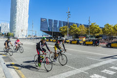 Group of cyclists in Barcelona Stock Images