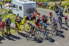 Group of Cyclists on Col du Grand Colombier - Tour de France 201 Stock Photography