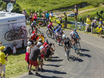 Group of Cyclists on Col du Grand Colombier - Tour de France 201 Royalty Free Stock Photography