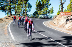 Group of cyclists descending from the Mount Teide Royalty Free Stock Image