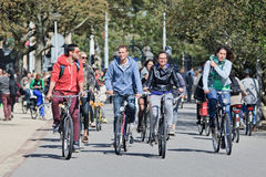 Group of cyclists have fun in the Vondelpark, Amsterdam, netherlands Stock Photo